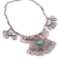 Silver Turquoise Statement Necklace