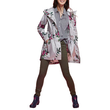 Joules Right as Rain Golightly Pack Away Waterproof Parka, Silver Artichoke Floral at John Lewis