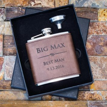 Custom Engraved Leather Flask, Dark Brown Faux Leather - Personalized Gift