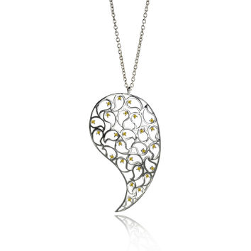 Jaali Silver Paisley Necklace Yellow CZ