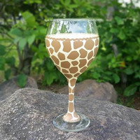 Giraffe print hand-painted wine glass