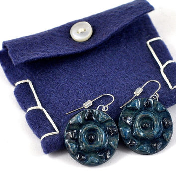 Ceramic Earrings Handmade Jewellery Relief Star Design in Cobalt and Baby Blue Round disc Comes in Handmade Gift Pouch