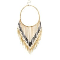 Gold Chain Rope Spike Necklace