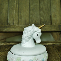 Vintage Unicorn Porcelain Treasure Box