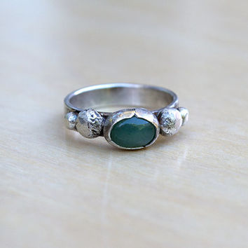 Aventurine Ring, Sterling Silver Ring, Rustic Oxidized Ring, Gemstone Jewelry, Boho Ring, Green Stone, Bezel Stone Ring, Hippie Bohemian