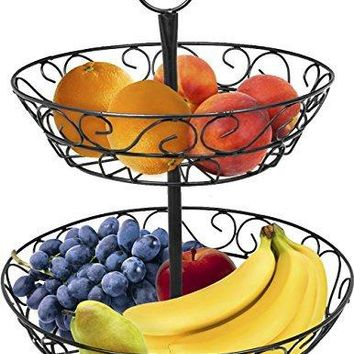 Sorbus 2-Tier Countertop Fruit Basket Holder & Decorative Bowl Stand-Perfect for Fruit, Vegetables, Snacks, Household Items, and Much More (Black) by Sorbus