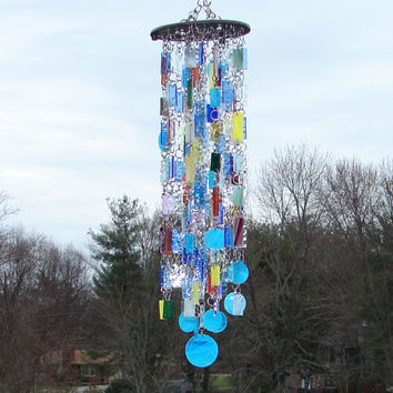 Somewhere Over The Rainbow II -- Stained Glass -- Kaleidoscope -- Colored Glass -- Wind Chimes -- SunCatcher -- OOAK