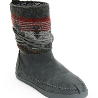 Toms Grey Suede Jacquard Women's Nepal Boots
