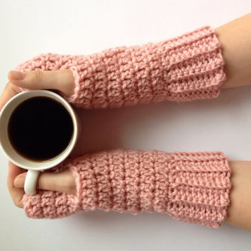 Crochet fingerless gloves in pink, arm warmers, wrist warmers