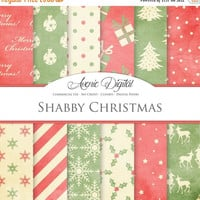 50% OFF Red and Green Shabby Christmas Digital Paper. Scrapbook Backgrounds. Old xmas patterns for Commercial Use. Worn, grungy, vintage tex