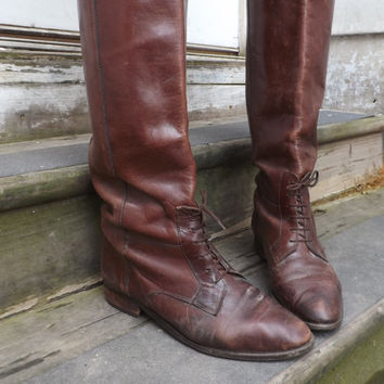 SIZE 8.5 Vintage Chestnut Brown Womens Tall Leather Mid Calf Boho Indie Lace Up Riding boots Equestrian Victorian Marc Alpert Maria Pia