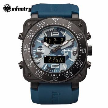 INFANTRY Mens Luxury Watch Navy Blue Military Sports Square Face Watch Relogio Masculino Water Resistant Rubber Strap