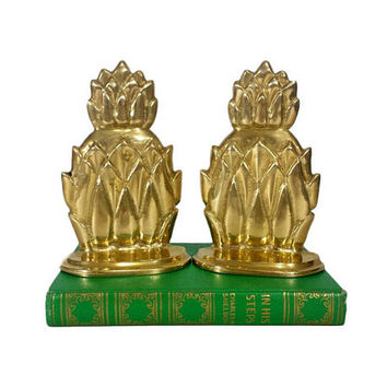 Brass Pineapple Bookends Vintage Pair Mid Century Hollywood Regency Home Office Library Decor Gold Tropical MCM Tiki Housewarming Gift