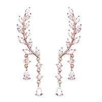 EVERU CZ Vine Jewelry Sweep Wrap Crystal Rose Gold Leaf Ear Cuffs Set Stud Earrings for Women