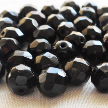 Lot of 25 8mm Jet black Czech glass beads, firepolished faceted, round beads C2525