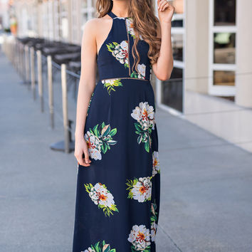 Sunday By The Sea Self Tie Open Back Cut Out And Slit Detail Floral Maxi (Navy)