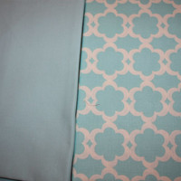 Coordinating blue fabrics, one with a gorgeous design in white and the other a solid color, 1 yard cuts each