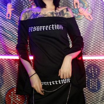2018 New Arrival Women Harajuku Punk Gothic Embroidery Letters Resurrection Off Shoulder  Flare Long Sleeve Sleeve T-Shirt