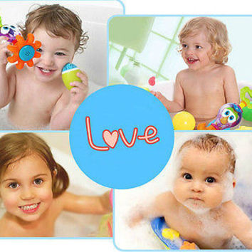 Baby Bath Toys 0-12 Months Plastic Cartoon Octopus Fun Pool Toys For Bathroom HU