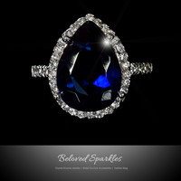 Della Pear Cut Sapphire Halo Cocktail Ring | 7.5 Carat | Cubic Zirconia