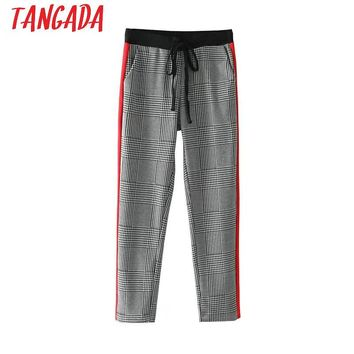 Tangada Women Houndstooth Suit Pants For Female Trousers Side Striped Elastic Waist Elegant Fashion Ladies Work Business Pants