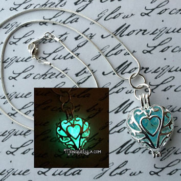 Frozen Heart Galaxy Glowing Glass Necklace