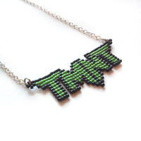 TMNT, Teenage Mutant Ninja Turtles Necklace, Handmade, Handbeaded Jewelry, 8bit jewelry