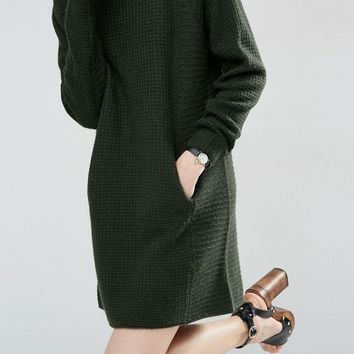 ASOS Jumper Dress with Double Neck Detail with Pockets