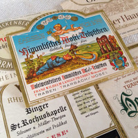 5 Vintage German Wine Labels - Ephemera Collage Creative Spark Vintage Paper Pack - label lot - Germany - winery - wines - five - hostess