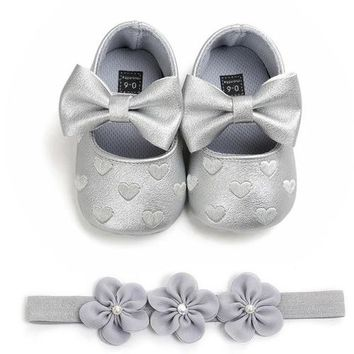 Baby Girls Love Heart Embroidery Shoes All Sizes