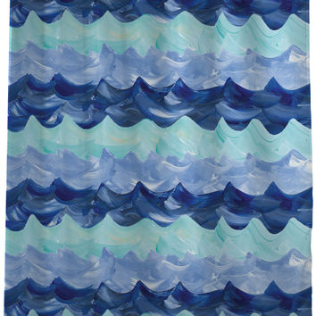 Water Waves Pattern - Blue Shower Curtain by Timree Gold