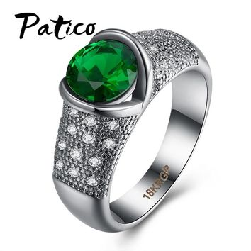 PATICO Jewelry Gifts For Woman Classic CZ Green Heart Round Cut Rings For Women Love Promise Symbol Jewelry Lady Rings