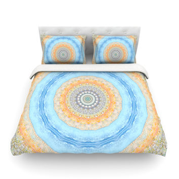 "Iris Lehnhardt ""Summer Mandala"" Circle Orange Blue Featherweight Duvet Cover"