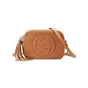Gucci sells lady's double G single shoulder fringed bag Brown