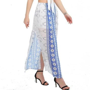 Vintage Split Beautiful Long Printed Skirt Women Summer Beach Loose Wrap Maxi Skirt High Waist Skirts