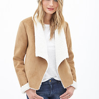 LOVE 21 Shawl Collar Faux Suede Jacket Tan/Ivory