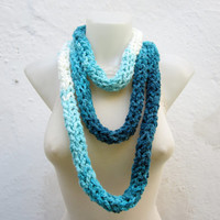 Crochet Scarf infinity -Finger Knitting Scarf -Blue White Turquoise- Necklace Long Winter Accessories-chain loop scarf