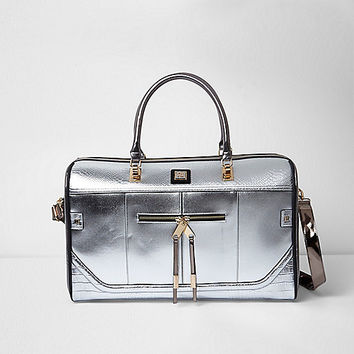 Silver metallic weekend bag
