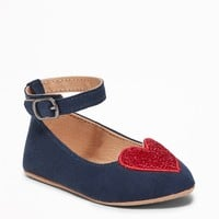 Sueded Glitter-Heart Flats for Baby | Old Navy