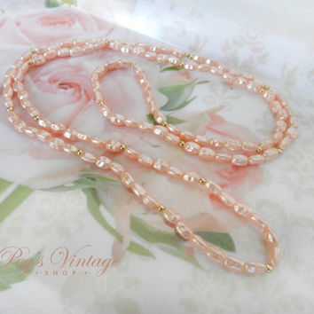 Vintage Single Strand Fresh Water Pink Pearl Bead Necklace, Bridal Pearl Jewelry
