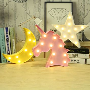 3D Unicorn , Moon , Cactus , Cloud Led Nightlight Marquee Bedroom Decor