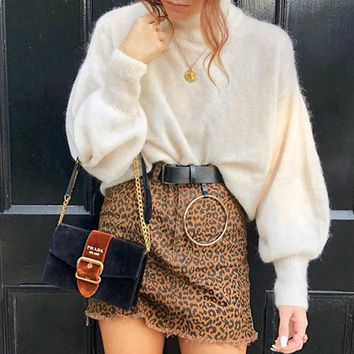 Mohair Soft Winter Knitted Sweater Women Solid Elegant Casual Sweaters Jumper High Fashion Pullovers Sweater