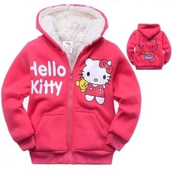 Trendy New Winter Girls Jacket Hello Kitty Cartoon Coat Cotton-Padded clothes  Children's Keep Warm Coat Kids Clothes AT_94_13