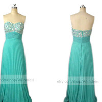 Sequins Bodice Pleated Skirt Turquoise Chiffon Long Prom Dress/ Formal Evening Dress/ Celebrity Dress/ Party Gown