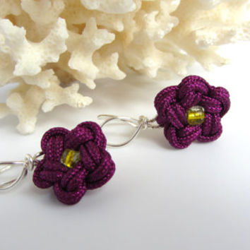 Purple Violet Flower Earrings Summer Time Jewelry Chinese Knotting Cord Star Knot Silver Wire Wrap Bridesmaid Jewelry Flower Girl Dress Gift