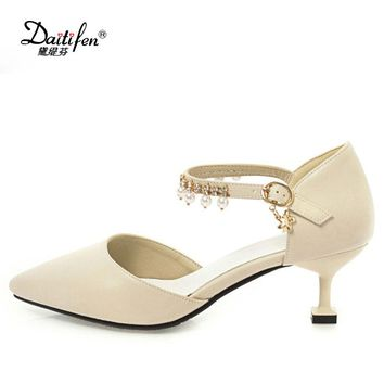 Daitifen Shoes Woman 2018 New High Heels Spring Ladies Pumps Autumn Two Piece Thick Heels Footwear Ankle Strap Shoes 33-43