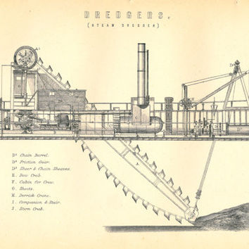 Antique Picture of Dredger, Dredging, Black and White Print of Steam Dredger ship