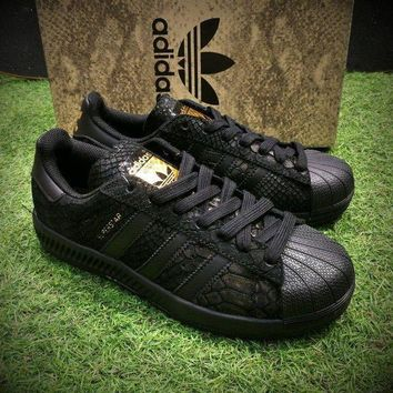 CREYNW6 Sale Adidas Originals Superstar 80s Casual Shoes Black Gold Sport Shoes