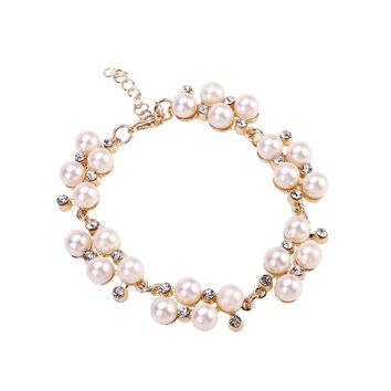 Fashion Freshwater Cultured White Pearl Gold Plated Bracelet