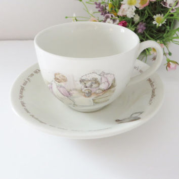 Beatrix Potter vintage 1990's teacup and saucer, Mrs. Tiggy Winkle, Wedgwood baby gift, Christening gift, Newborn, Beatrix Potter